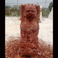 2016 New Style Red Sunglow Marble Foo Dog Statue for Sale