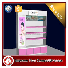 Pink / white acrylic display stand cosmetic products makeup display stand
