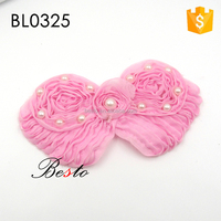 Fashion vintage pearl chiffon pink applique patch for baby girls