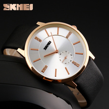 fashion luxury watch gold plated watch quartz watches with genuine leather strap waterproof