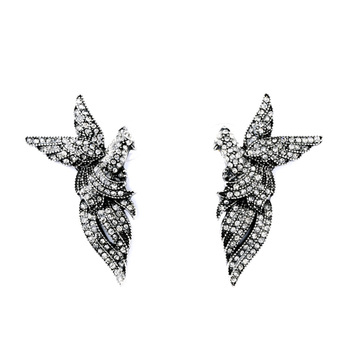 beautiful woman jewelry vintage silver crystal bird earring lovely silver jewelry earrings producer