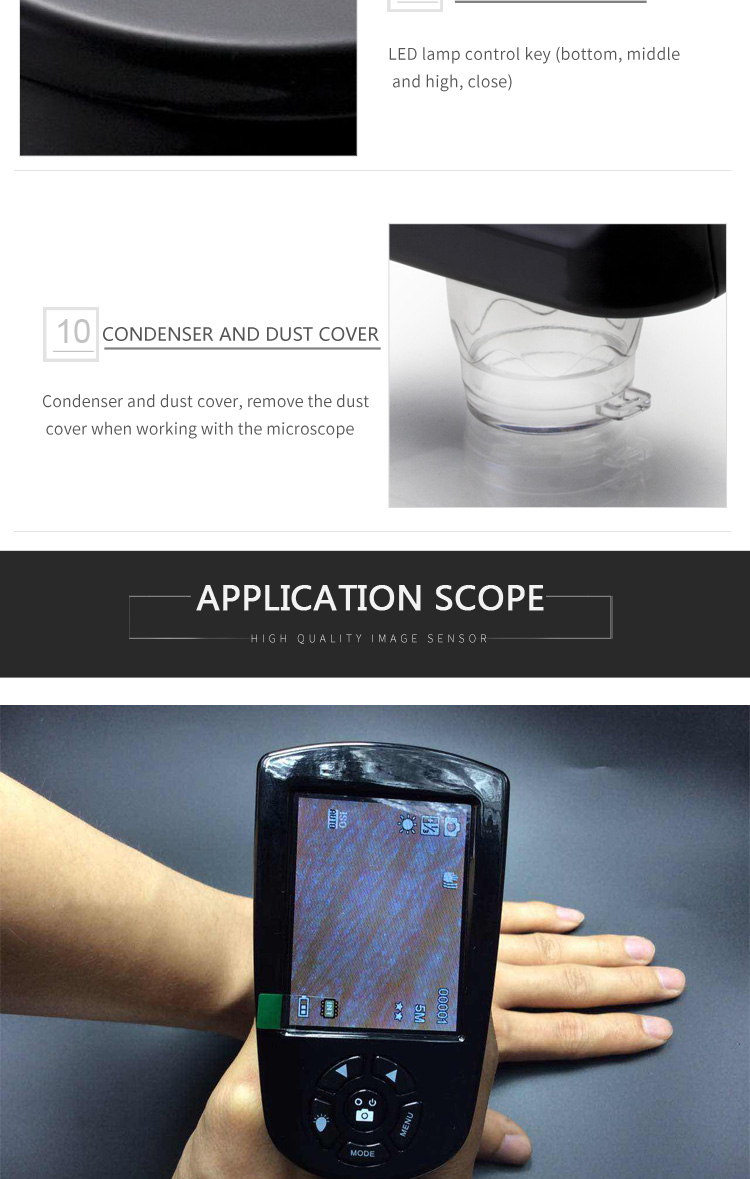 Multi-function portable high-definition digital microscope with screen electronic magnifier