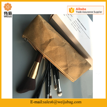 wholesale eco-friendly washable kraft paper storage bag brown cosmetic bag makeup