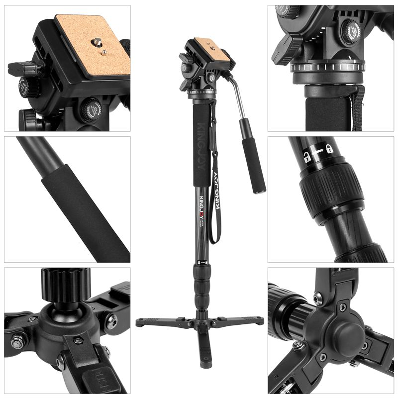 KINGJOY Best Cheap Lightweight Video Professional Flip Lock Carbon Fiber Monopod Tripod with Pan Tilt Head for Sport Camera