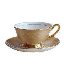 Factory directly supply custom fine bone china gold painting tea cup and saucer