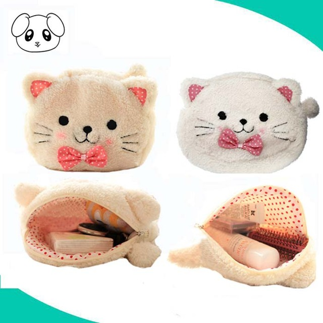 wholesale embroidey cat cosmetic bag custom polyester makeup travel bag
