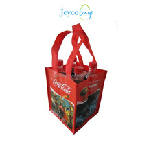 Custom printing durable material four bottle cola laminated woven shopping bag