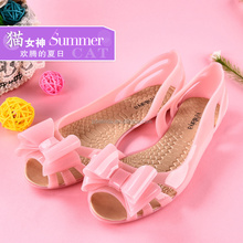 YY001 sell offf sandals pink jelly shoes bow design pvc shoes