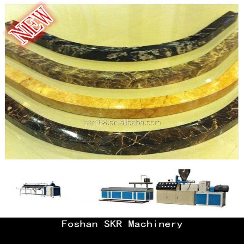 Foshan SKR machinery new curve PVC stone profiles production line double screw machine