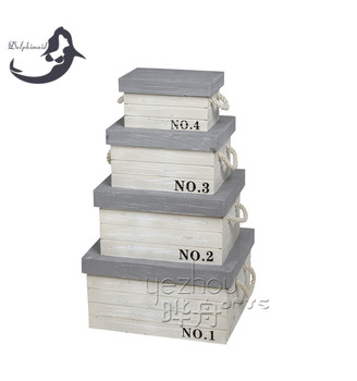 4pcs/set Antique wooden packaging box with lid