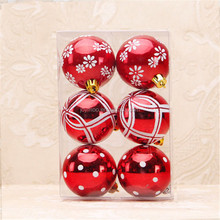 Market Festival Decoration 6cm Christmas Tree Hanging Colored Plastic Balls