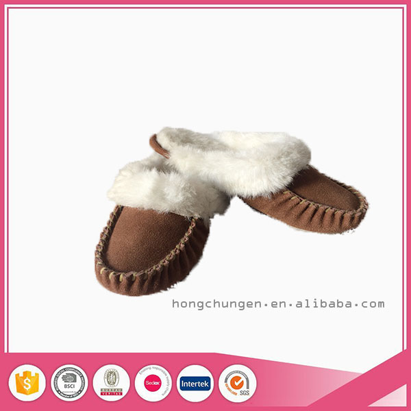 high quality sheepskin indoor moccasin slippers women