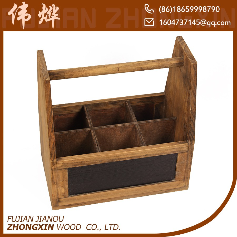 Decorative pine wood wooden wine carrier crates