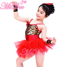 Modern Sling Sequin Ballet Dancing Dress Children Costume With Layers Organza Skirt