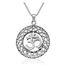 Yoga Om Aum Ohm Celtic Filigree Weaving Pendant Necklace, 18 inches