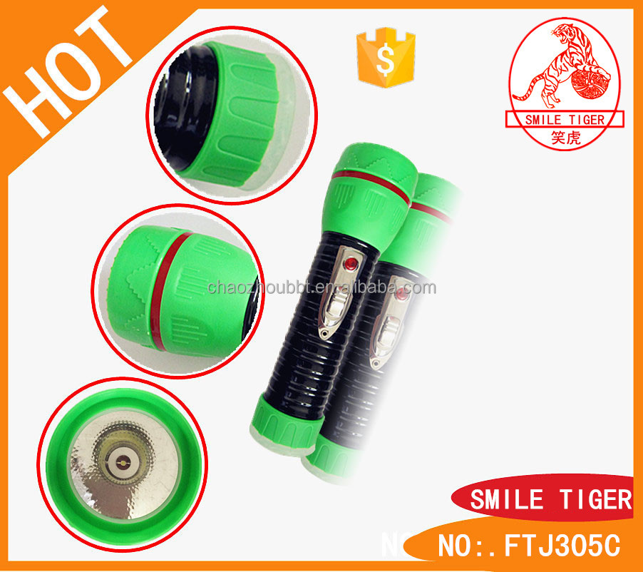 2015 New Design 1 LED Bright Light Torch 300Head Dry Battery Super Smile Tiger Brand