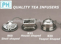 Tea Accessories: House / Shell / Teapot Shaped Stainless Steel Tea Infusers with chain