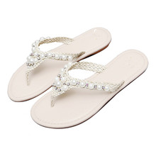 cheelon shoe pretty braided pu leather embellished rhinestone and pearl women sandals flip flops slides
