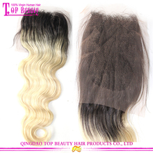 Large order free shipping human hair lace closure #1b/613 ombre hair extension lace closure