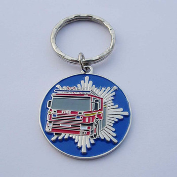 High quality wholesale 3D engraved fire-engine design metal custom-made keychain