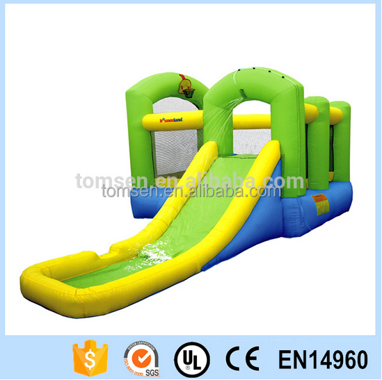 Inflatable kids bouncer with safe green water slide