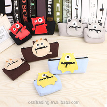 Wholesale cartoon stationery canvas cute monster pencil case