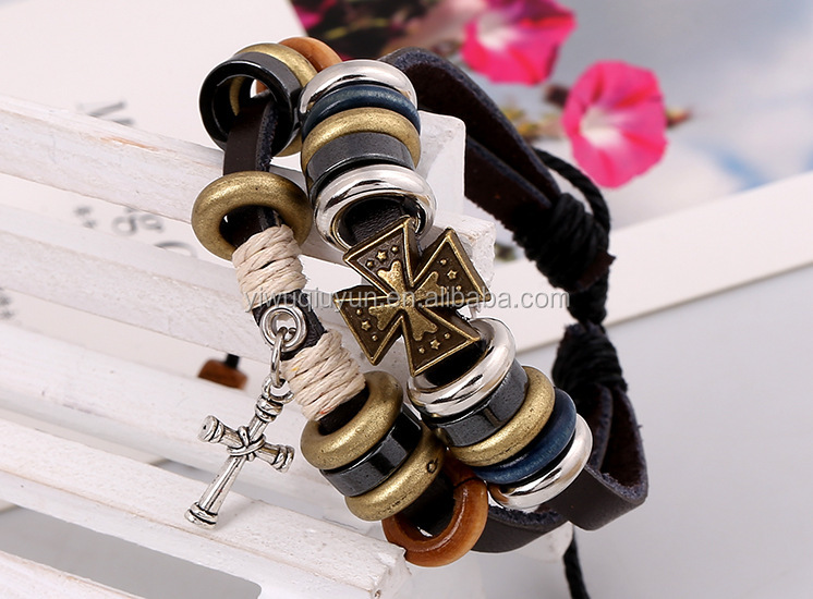 Multi Sufer Bracelet Cross Charmed Feelings Bracelets Real Leather Cross Bracelet For Girl