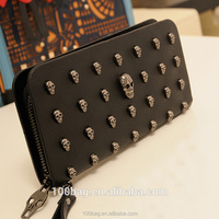 Korean version of the 2016 summer new authentic women's wallet purse retro punk skull rivets clutch bag tide