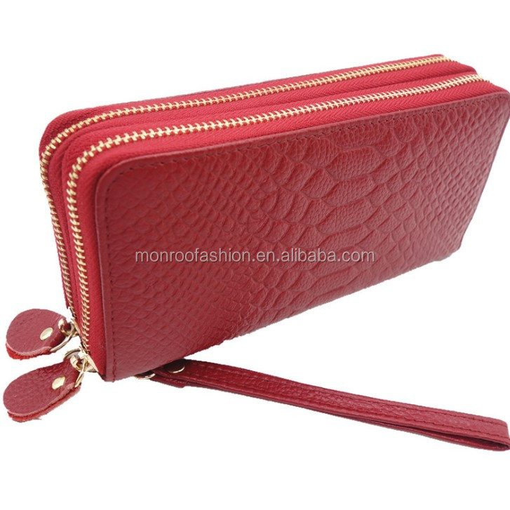 Monroo European and American style women leather purse high quality ladies clutch purse