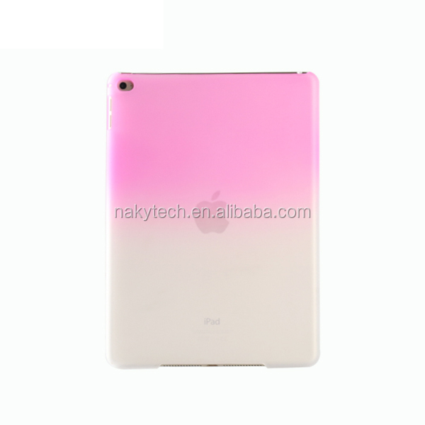 Wholesale pure color crystal back cover translucence hard PC case for ipad 6/ipad air 2