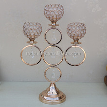 Continental candlestick furnishing articles metal crafts candle holders electroplating creative crystal beads rings hoops