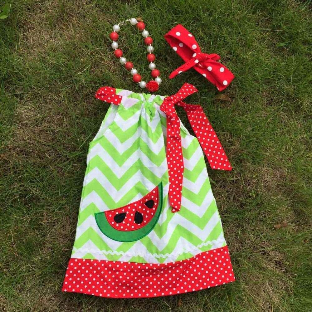 Professional design latest style girls watermelon green chevron dress with necklace and headband