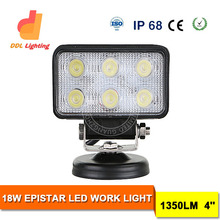 2015 new design 4 inch 18 w Epistar rectangle led driving light for jeep