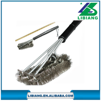 Stainless Steel 3-in-1 bbq cleaning grill brush