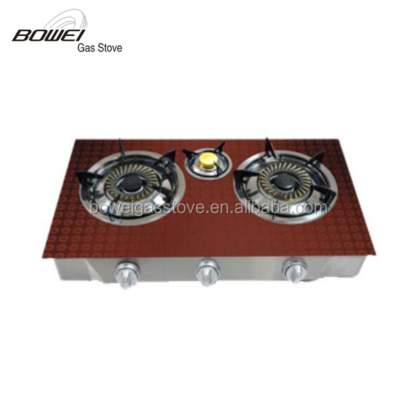 Free standing Thee burner glass Gas Stove BW-XK3019