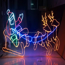 Led holiday decorative outdoor motif lighted christmas deer sleigh with rope lights