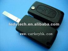 Promotional 307 3 button no logo car remote flip key peugeot blank cover