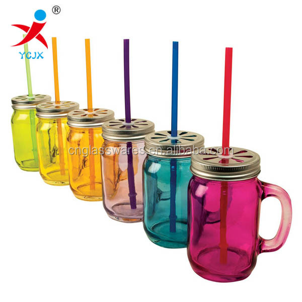 wholesale colored glass mason jars with handle/ decorative lids /straws on glass jar