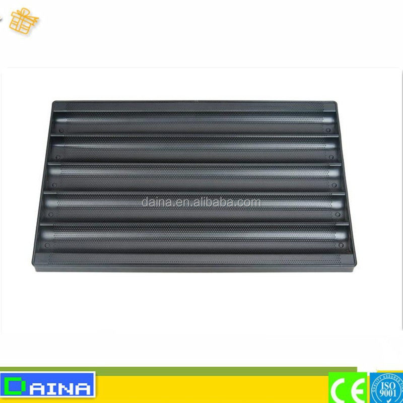 teflon coated aluminum alloy perforated baguette baking tray
