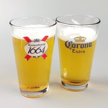 Haonai 16oz juice glass with customized logo,clear beer glass cup