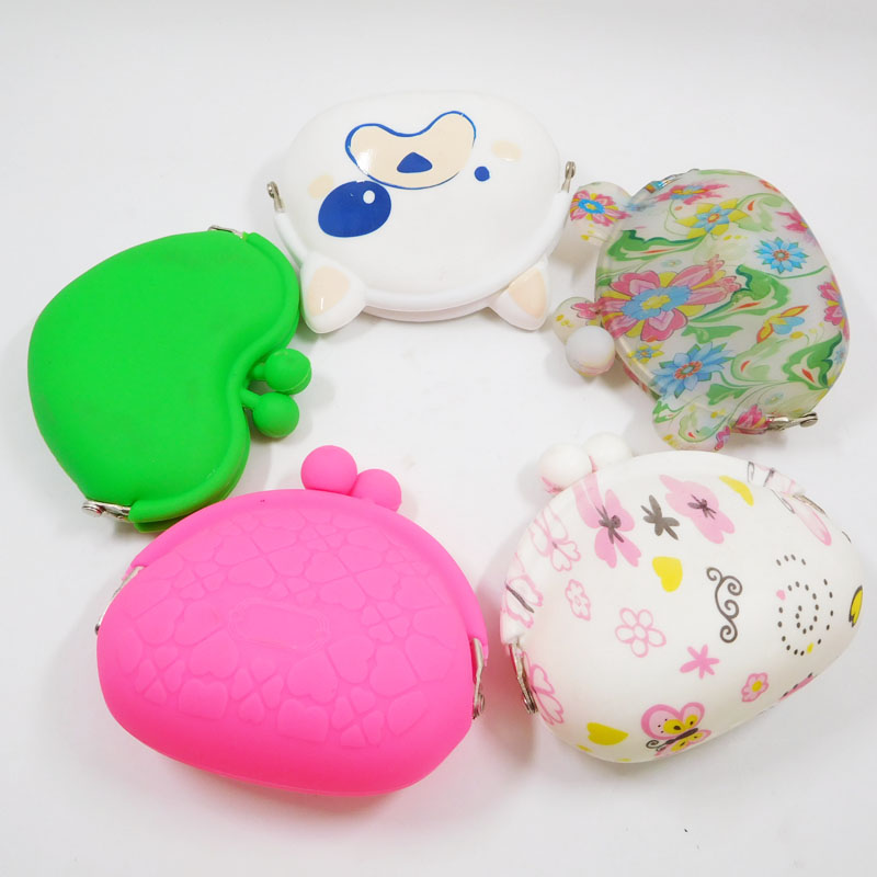Non-stick Soft Elastic Coin Purse Printed Smart Case Silicone Wallet