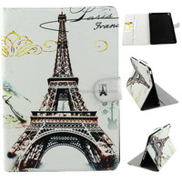 Colorful stand PU case for ipad 6, credit card case for ipad air 2