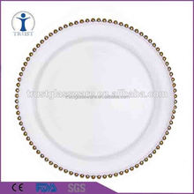 Party clear beaded silver disposable wedding decoration glass cheap gold charger plates wholesale