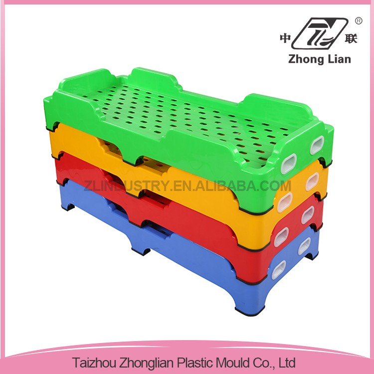 Stable safety design cheap stackable sleeping plastic bed frames