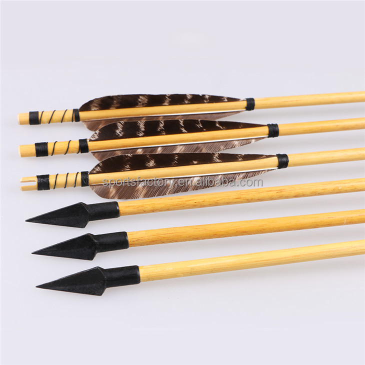 12pcs 80cm Traditional Wood Arrows Real Feathers wholesales Archery Hunting