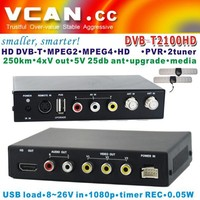 Usb dvb-t fm/dab tuner DVB-T2100HD-655 Car TDT TNT HD SD DVB-T Receiver MPEG4/H.264 dual tuners, USB Recorder