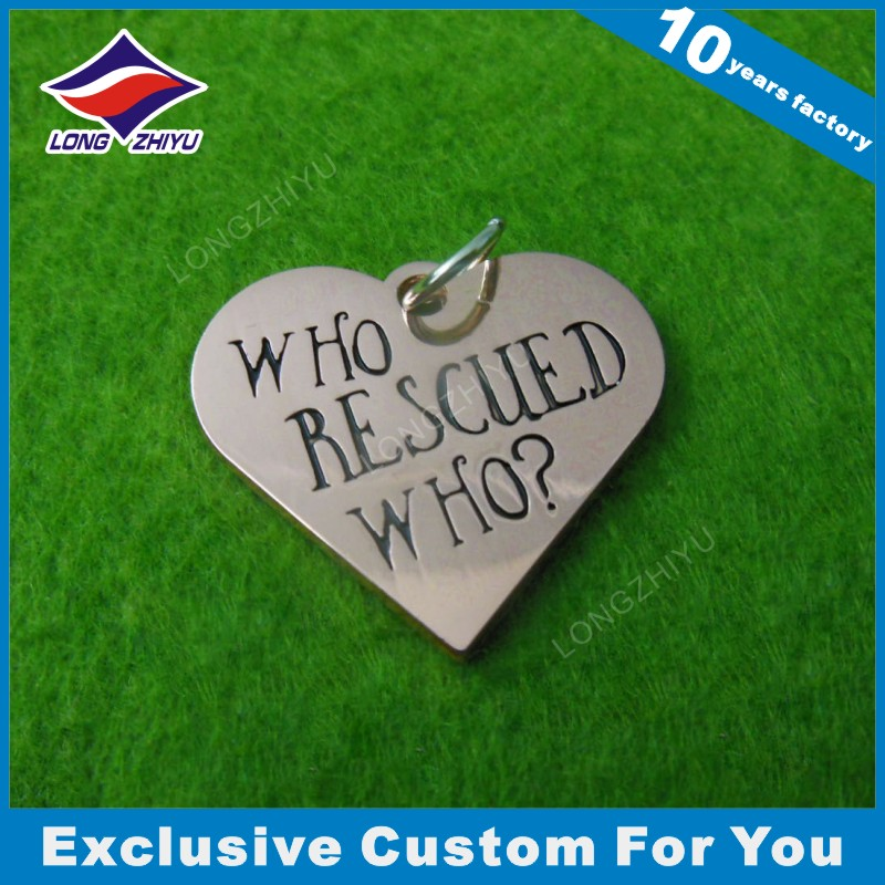 Silver Typle Name Engrave Heart Shape Dog Tag for Lovers