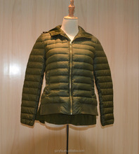Wholesale women long sleeve hooded army green down jackets for military
