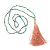Cotton Tassel Long Necklace Pendant Beads Chain Crystal necklace, buddha head necklace