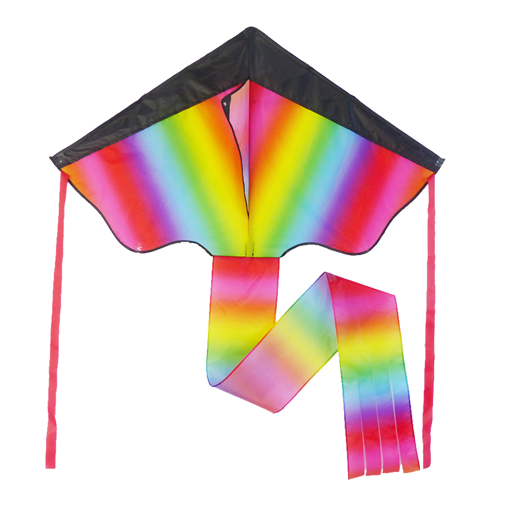 Outdoor toys promotional rainbow ripstop polyester delta kite design